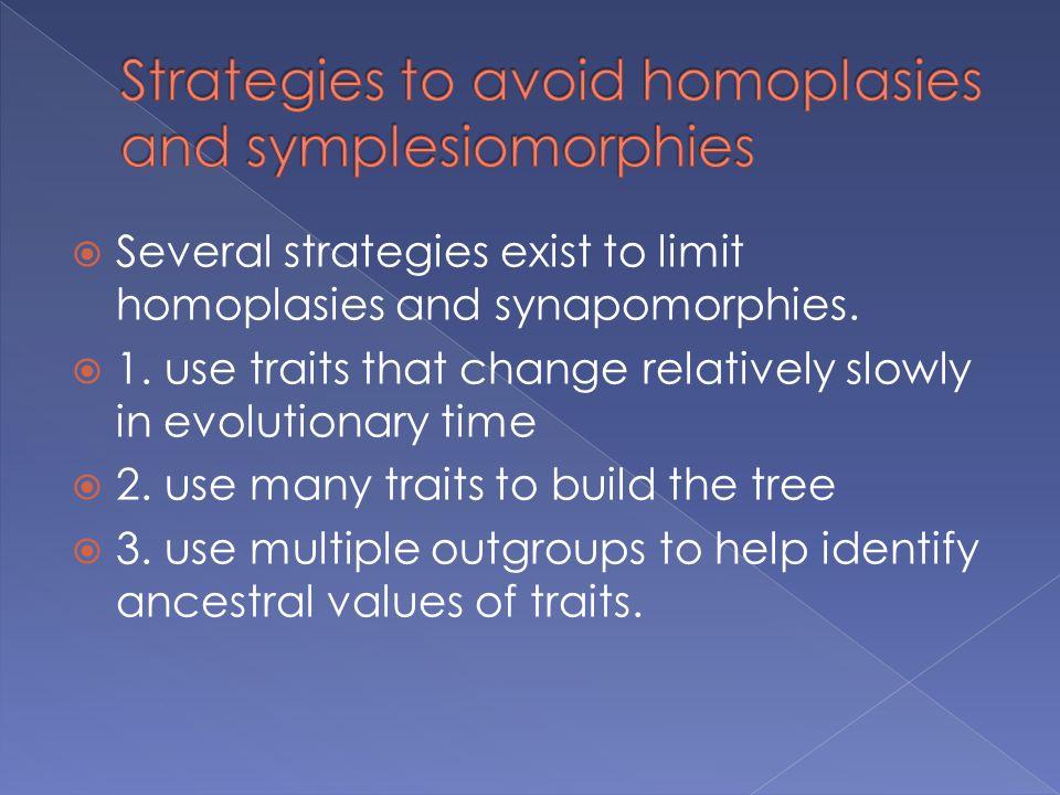 Strategies to avoid homoplasies and symplesiomorphies