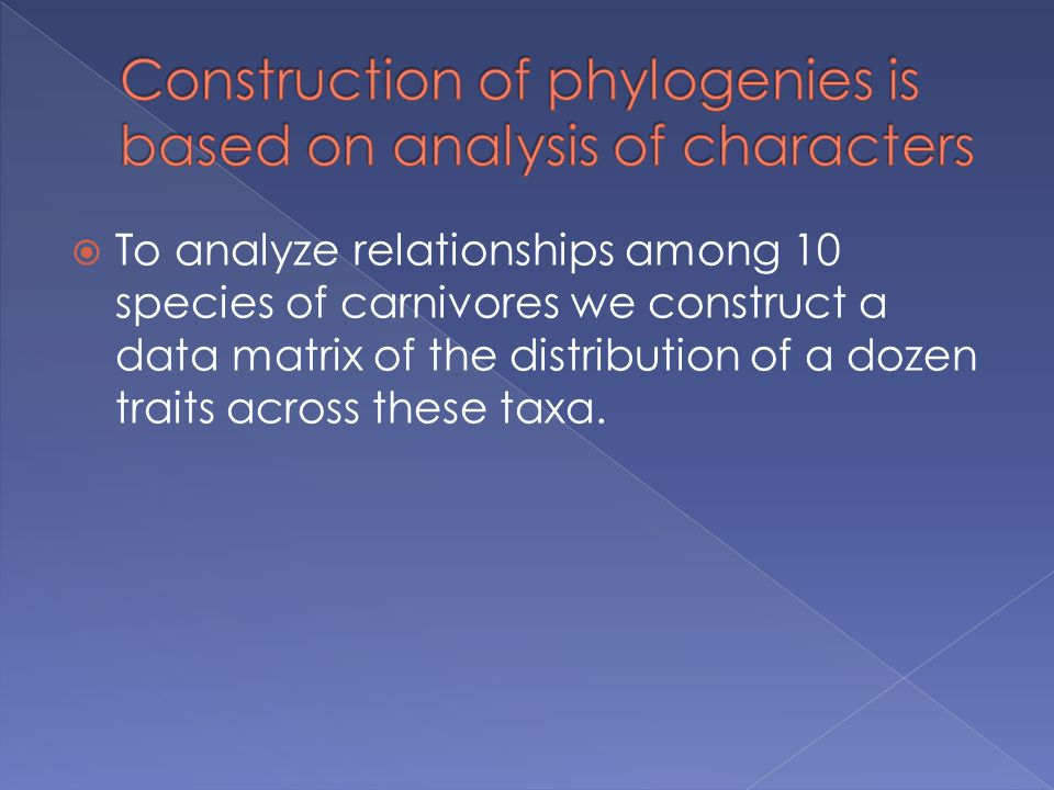 Construction of phylogenies is based on analysis of characters