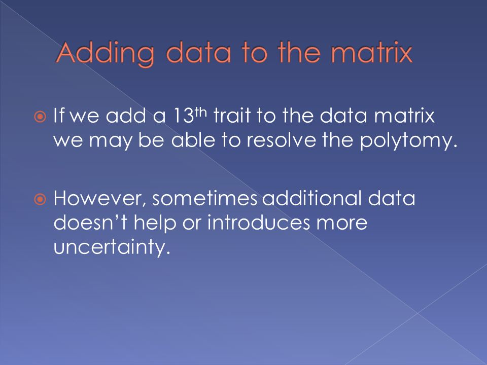 Adding data to the matrix
