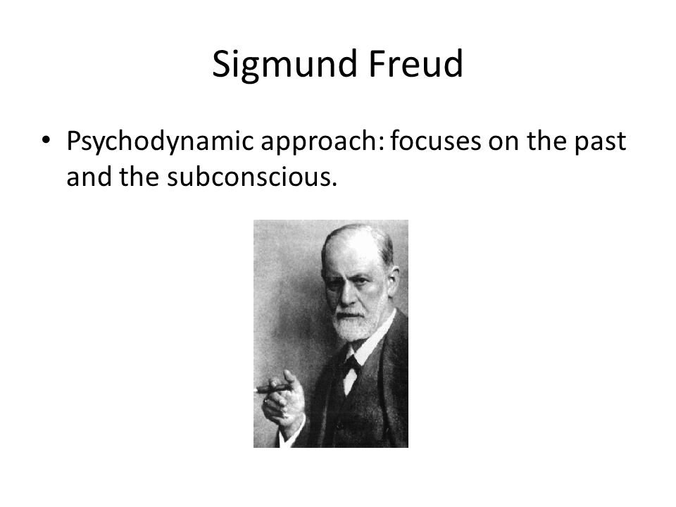 Sigmund Freud Psychodynamic approach: focuses on the past and the subconscious.