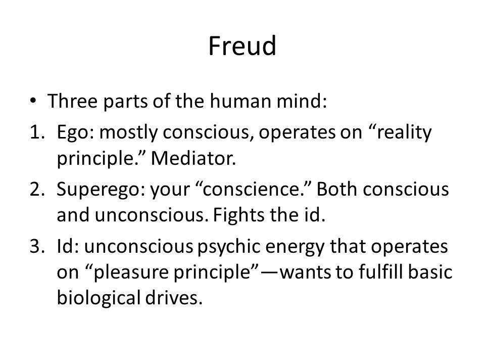 Freud Three parts of the human mind: