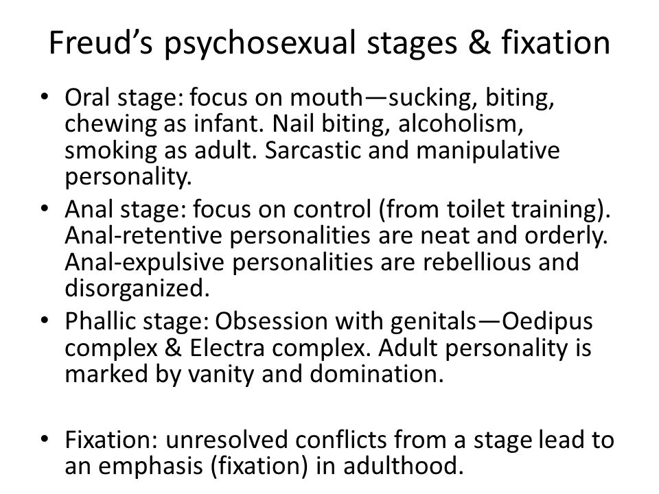 Freud's psychosexual stages & fixation