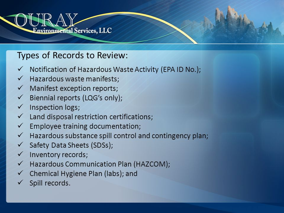 Types of Records to Review: