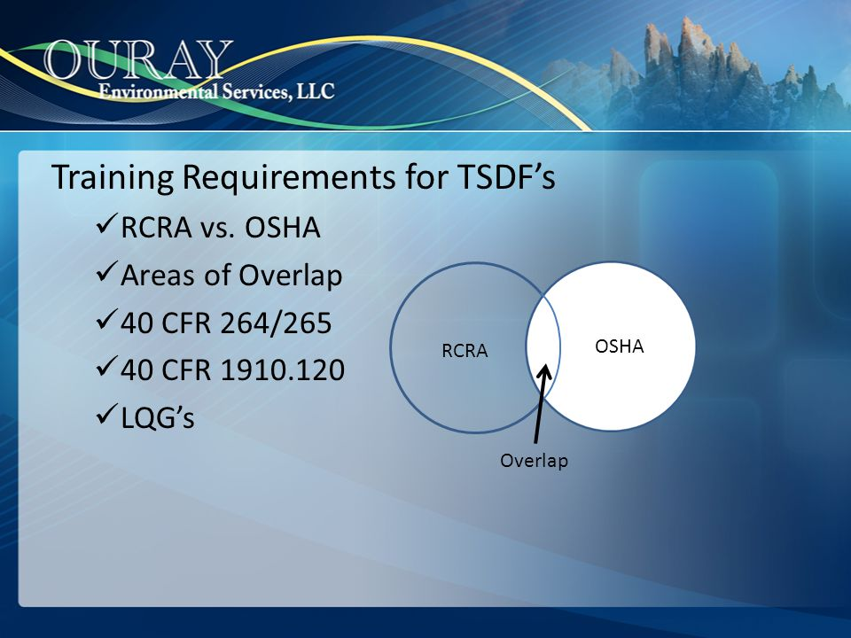 Training Requirements for TSDF's