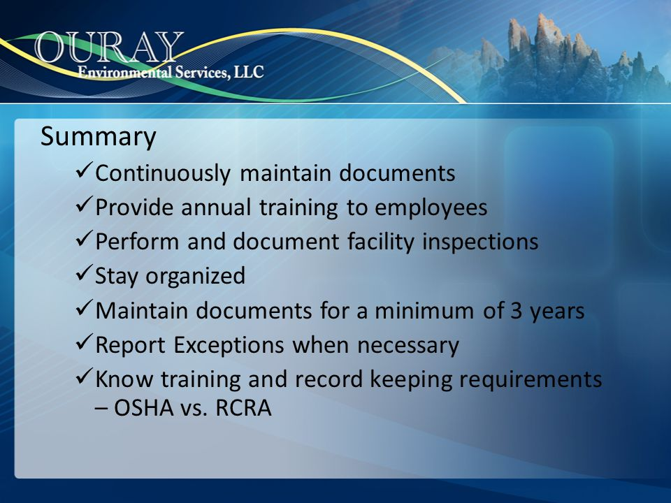 Summary Continuously maintain documents