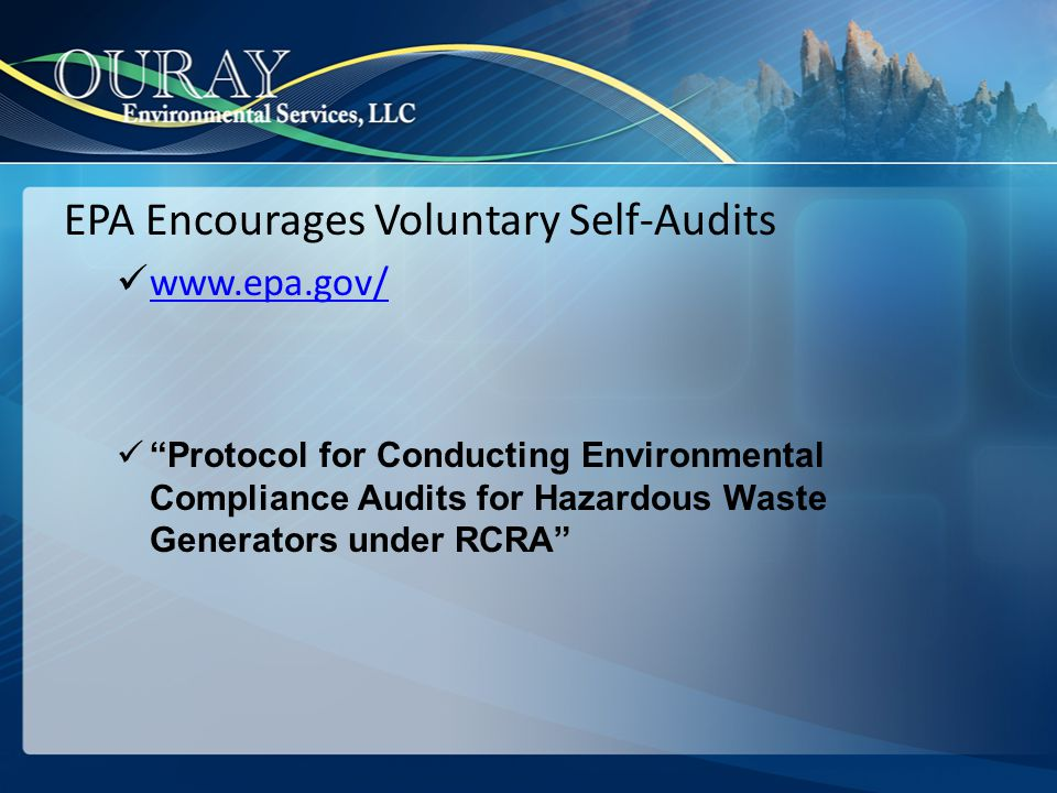 EPA Encourages Voluntary Self-Audits