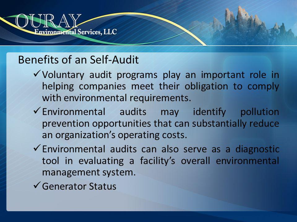 Benefits of an Self-Audit