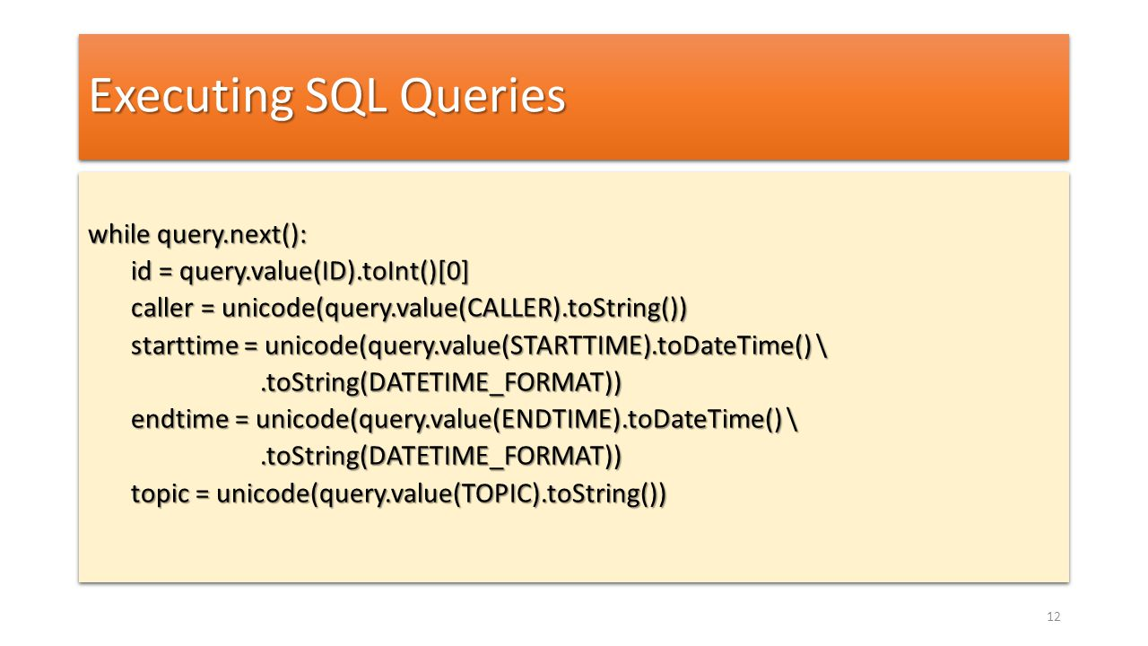 Executing SQL Queries