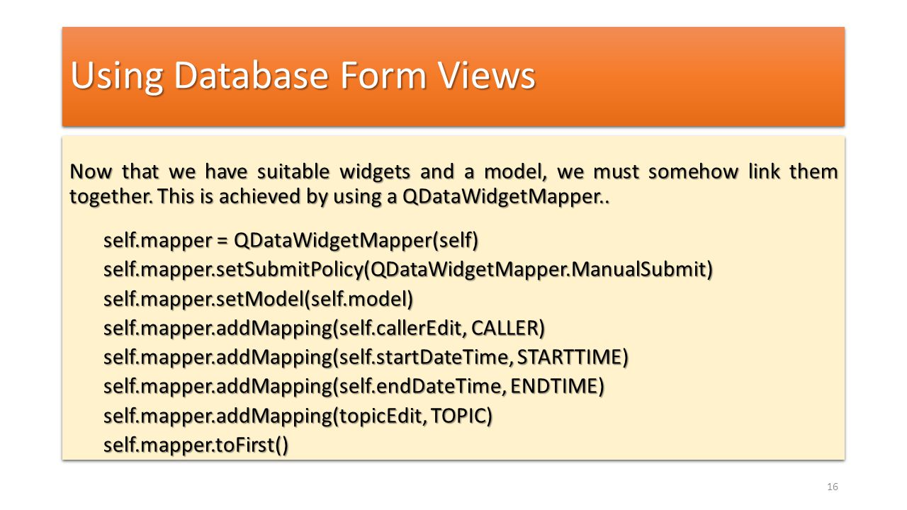 Using Database Form Views