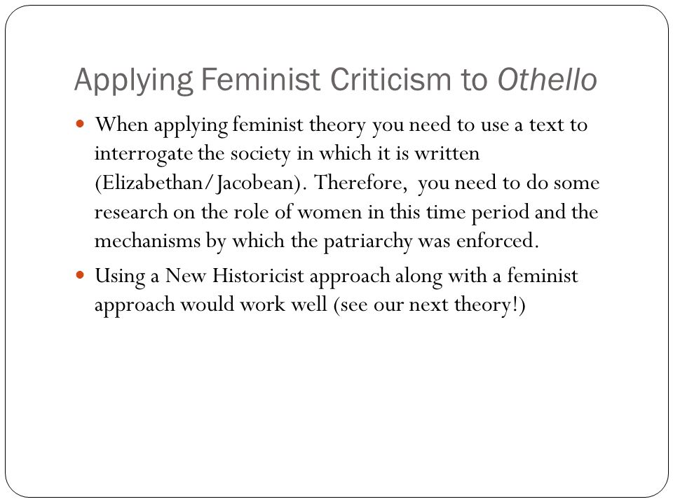 a feminist reading of othello essay Feminist criticism: female characters in shakespeare's plays othello and hamlet - sara ekici - term paper (advanced seminar) - english language and literature studies - literature - publish your bachelor's or master's thesis, dissertation, term paper or essay.