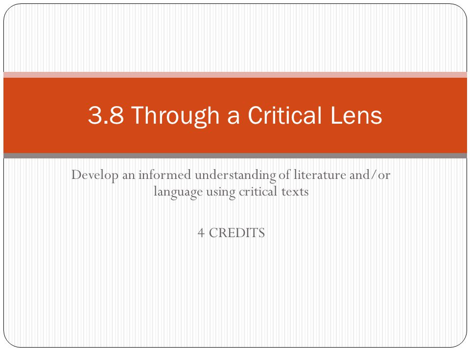 3.8 Through a Critical Lens