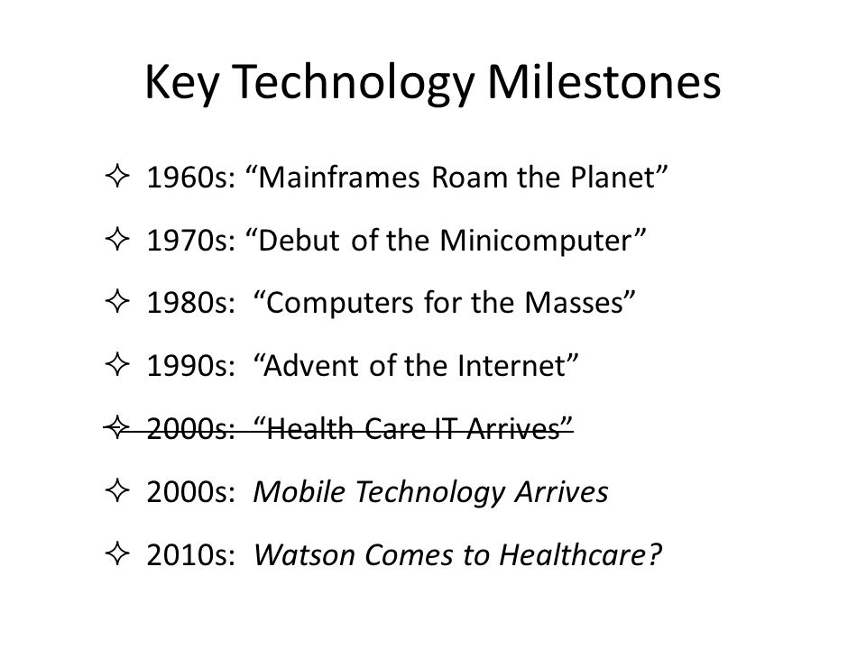 Key Technology Milestones