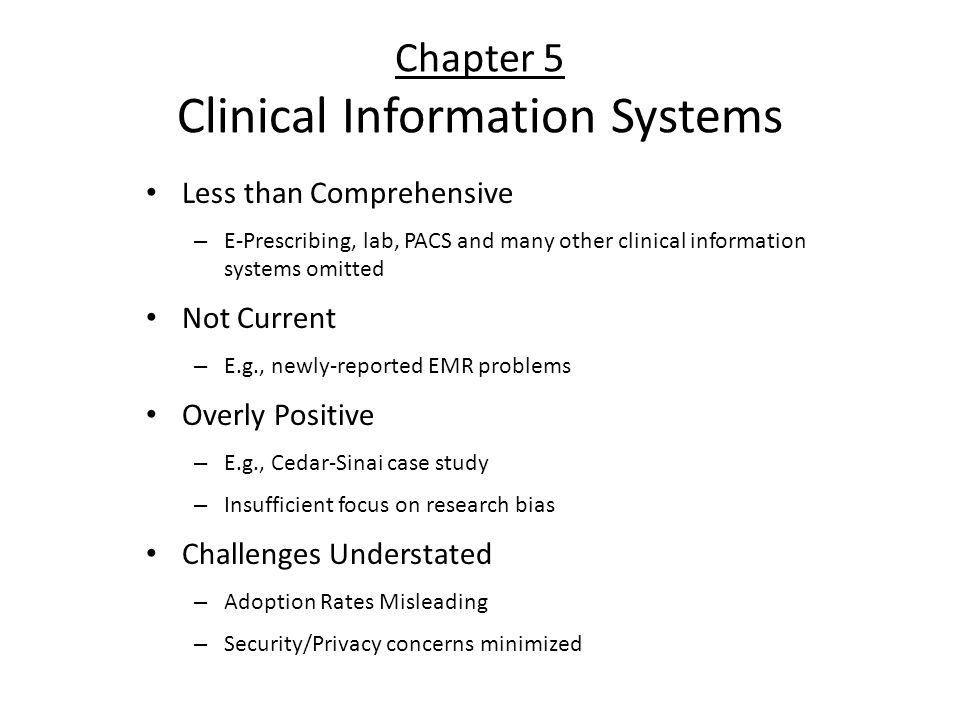 Chapter 5 Clinical Information Systems