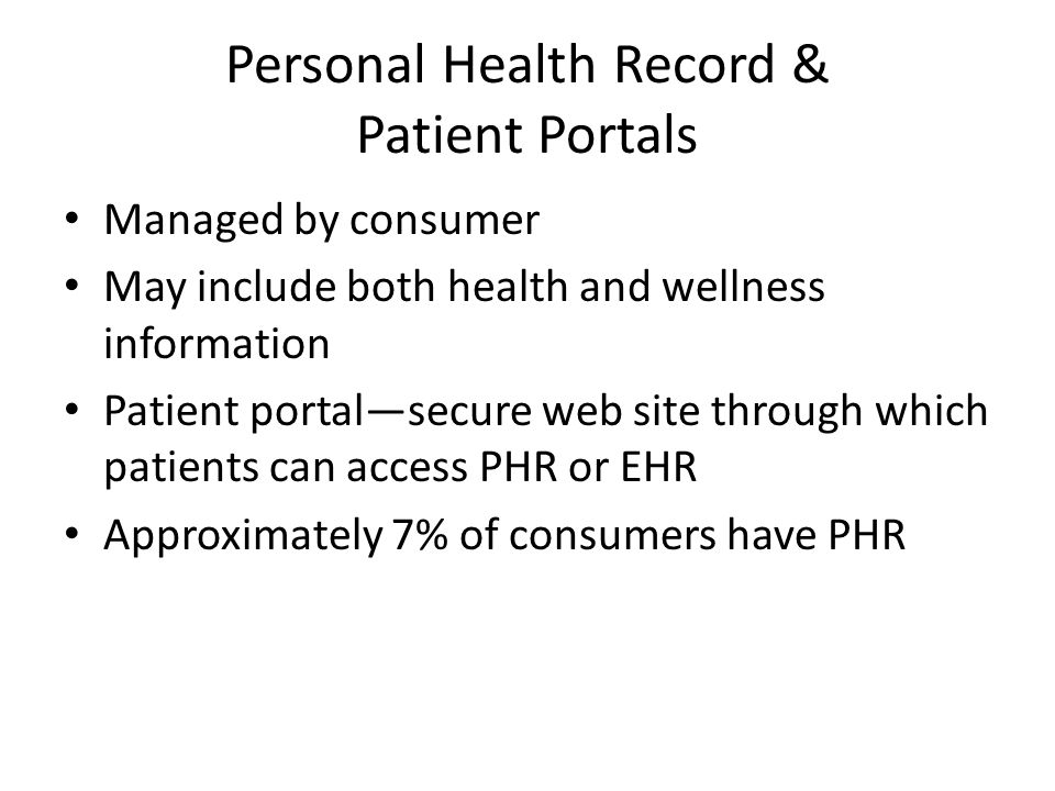 Personal Health Record & Patient Portals