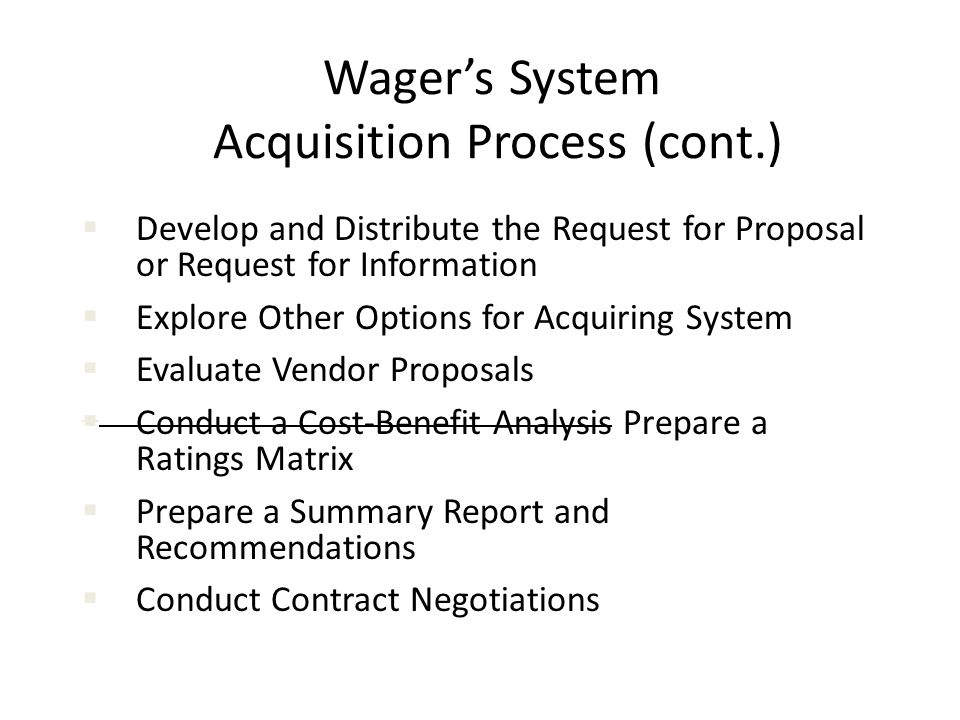 Wager's System Acquisition Process (cont.)
