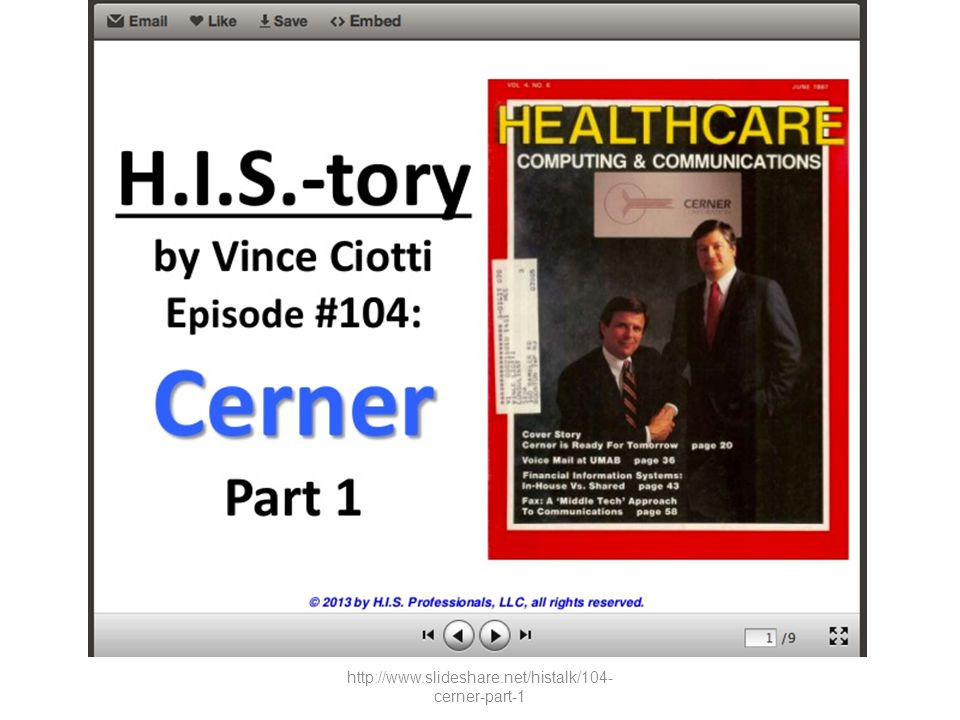 http://www.slideshare.net/histalk/104-cerner-part-1
