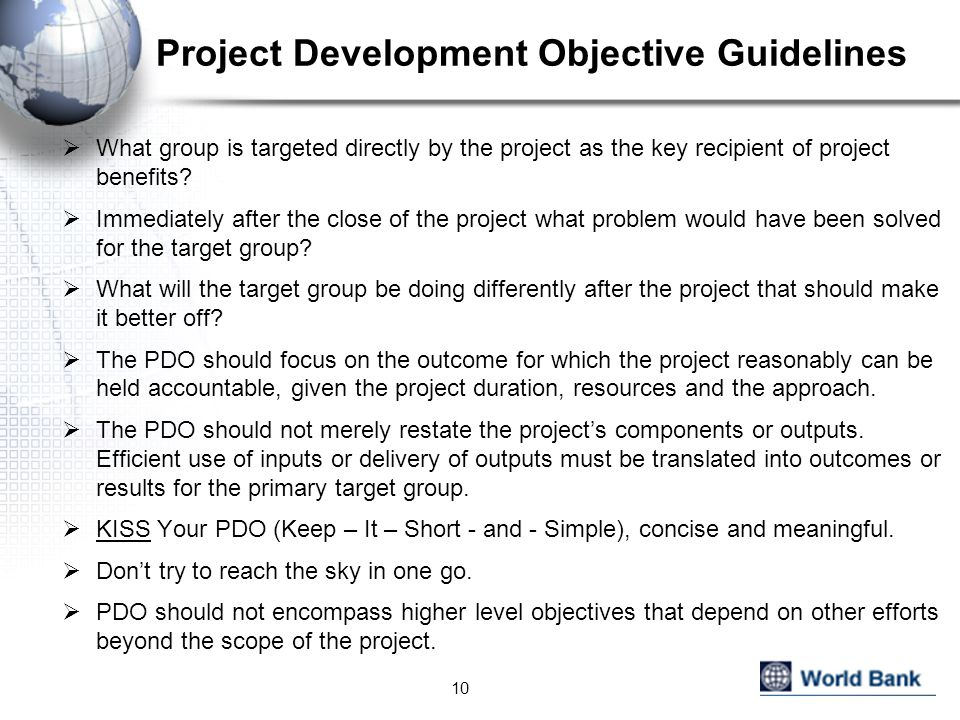Project Development Objective Guidelines