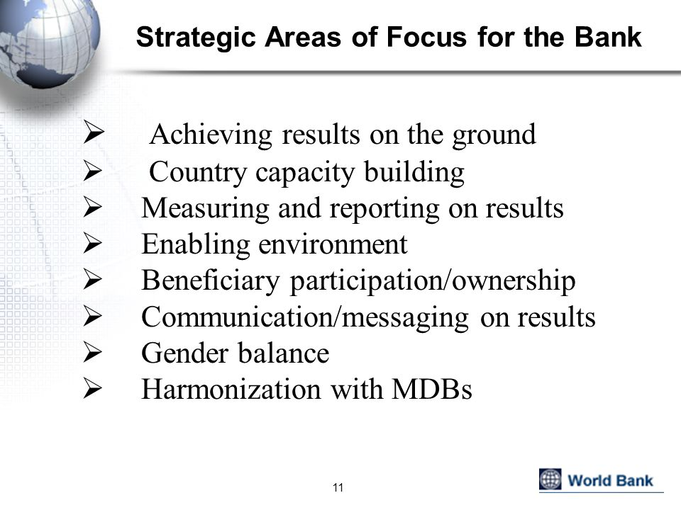 Strategic Areas of Focus for the Bank