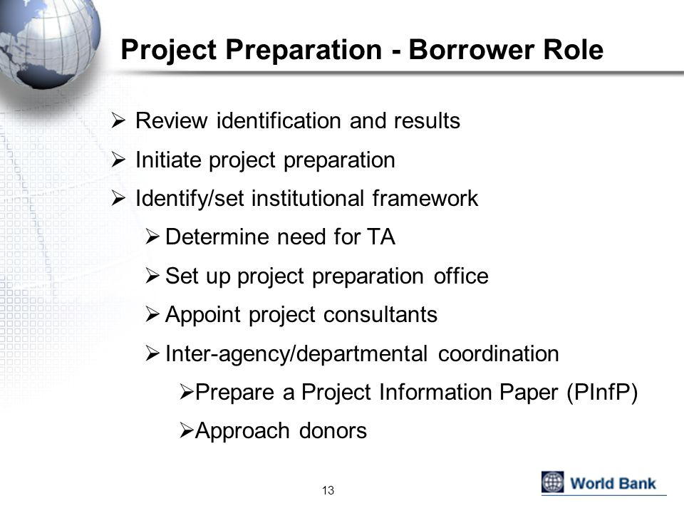 Project Preparation - Borrower Role