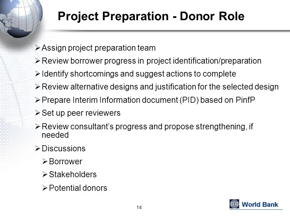Project Preparation - Donor Role