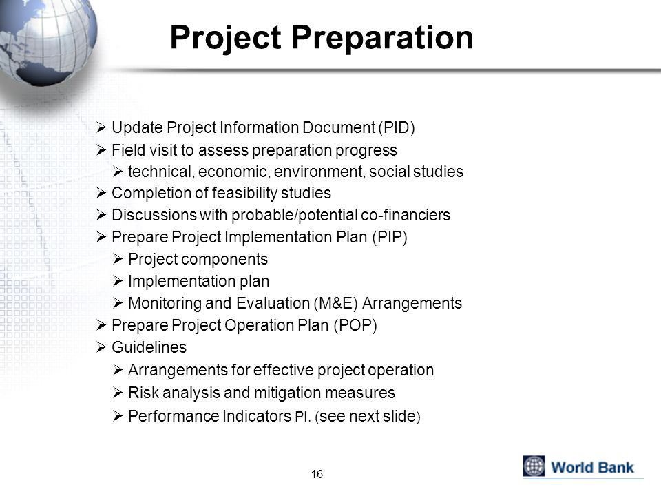 Project Preparation Update Project Information Document (PID)
