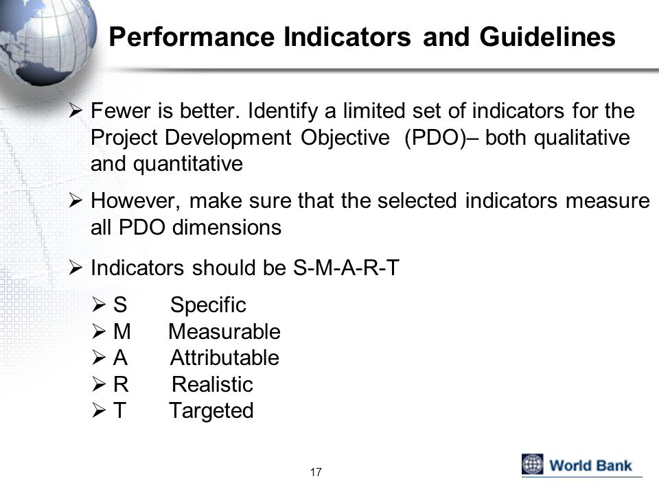 Performance Indicators and Guidelines