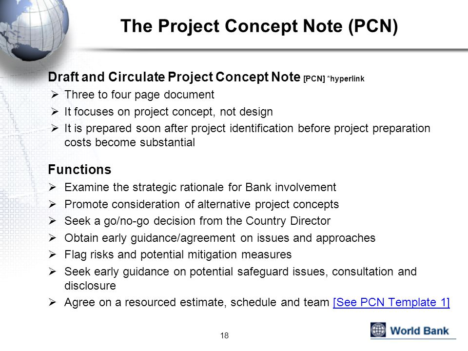 The Project Concept Note (PCN)