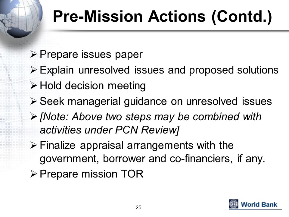 Pre-Mission Actions (Contd.)