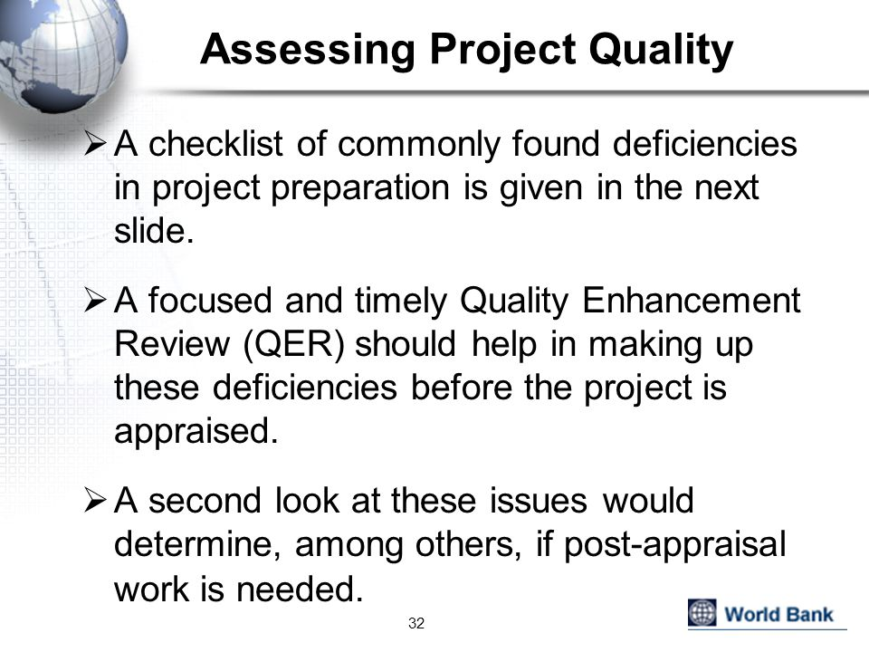 Assessing Project Quality