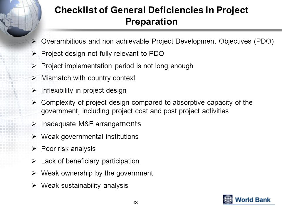 Checklist of General Deficiencies in Project Preparation