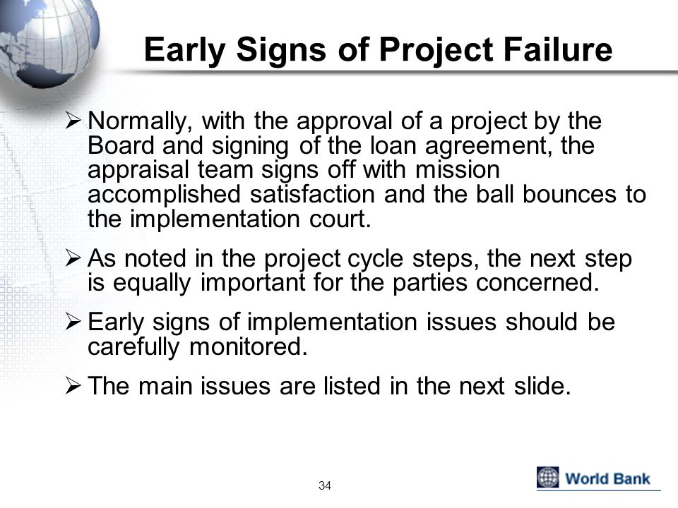 Early Signs of Project Failure