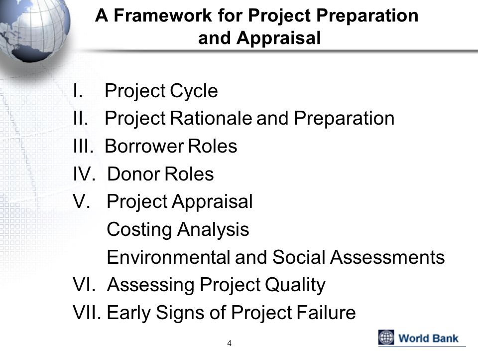 A Framework for Project Preparation and Appraisal