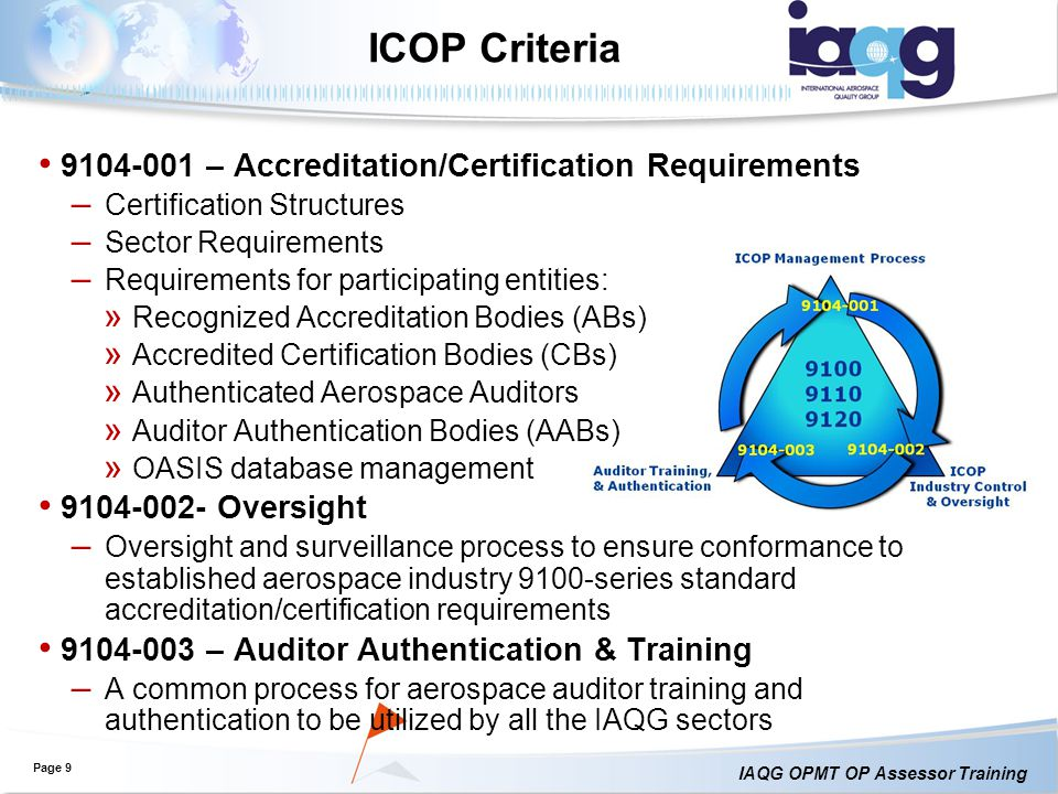 ICOP Criteria 9104-001 – Accreditation/Certification Requirements
