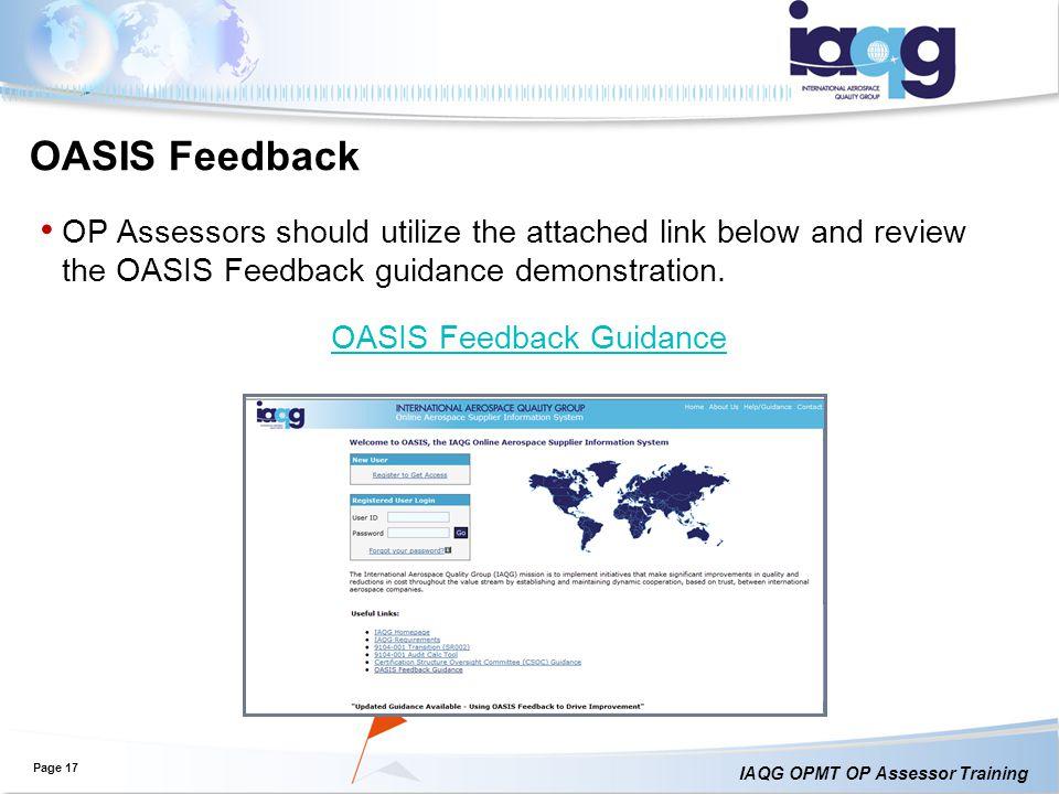 OASIS Feedback Guidance