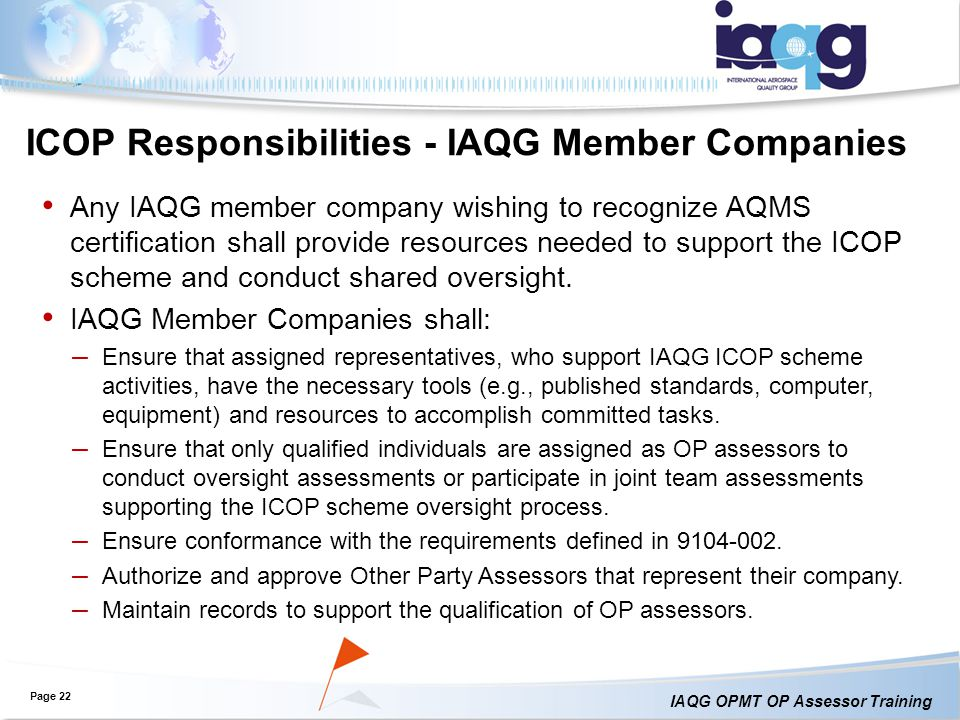 ICOP Responsibilities - IAQG Member Companies