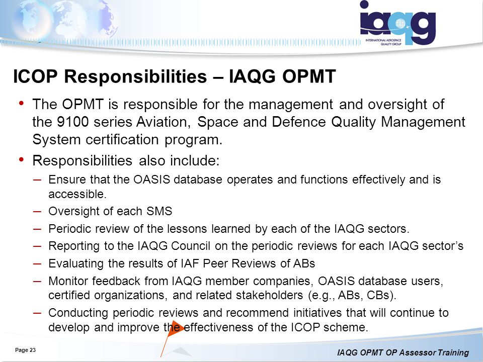 ICOP Responsibilities – IAQG OPMT