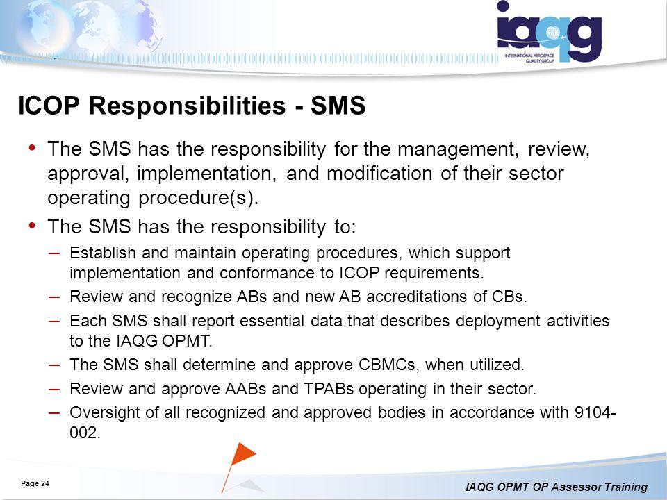 ICOP Responsibilities - SMS