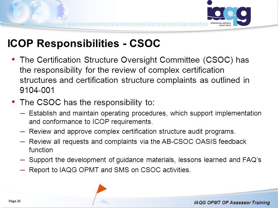 ICOP Responsibilities - CSOC