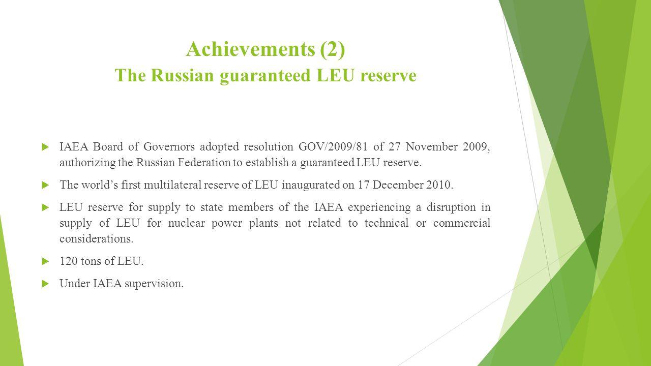 Achievements (2) The Russian guaranteed LEU reserve
