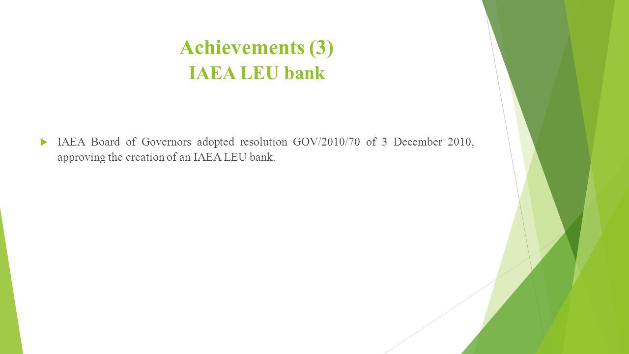 Achievements (3) IAEA LEU bank