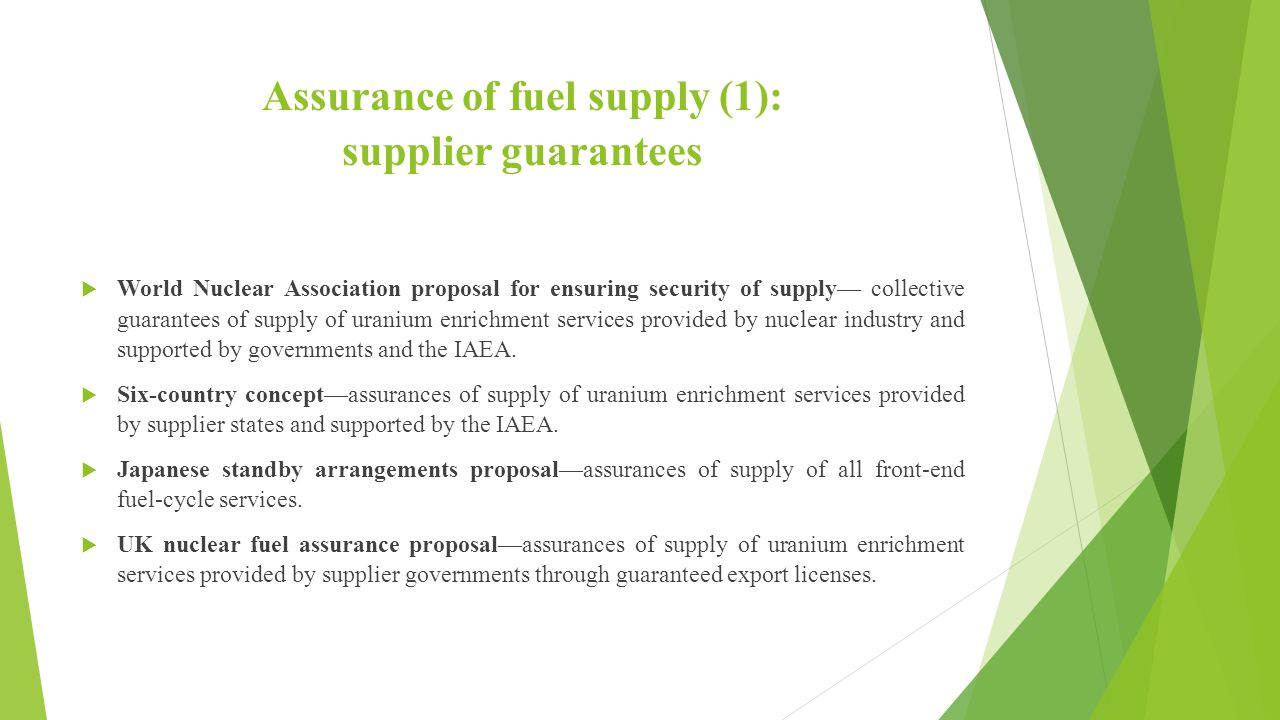 Assurance of fuel supply (1): supplier guarantees