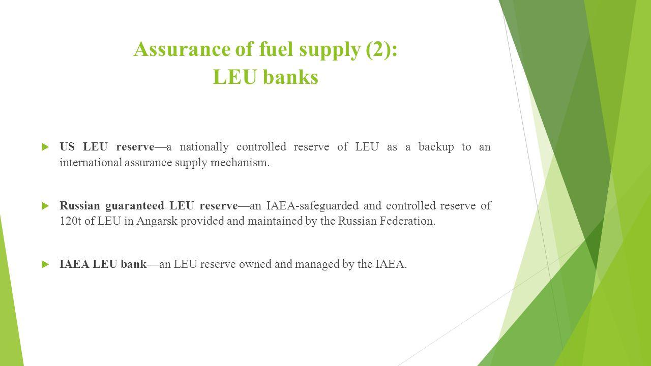 Assurance of fuel supply (2): LEU banks