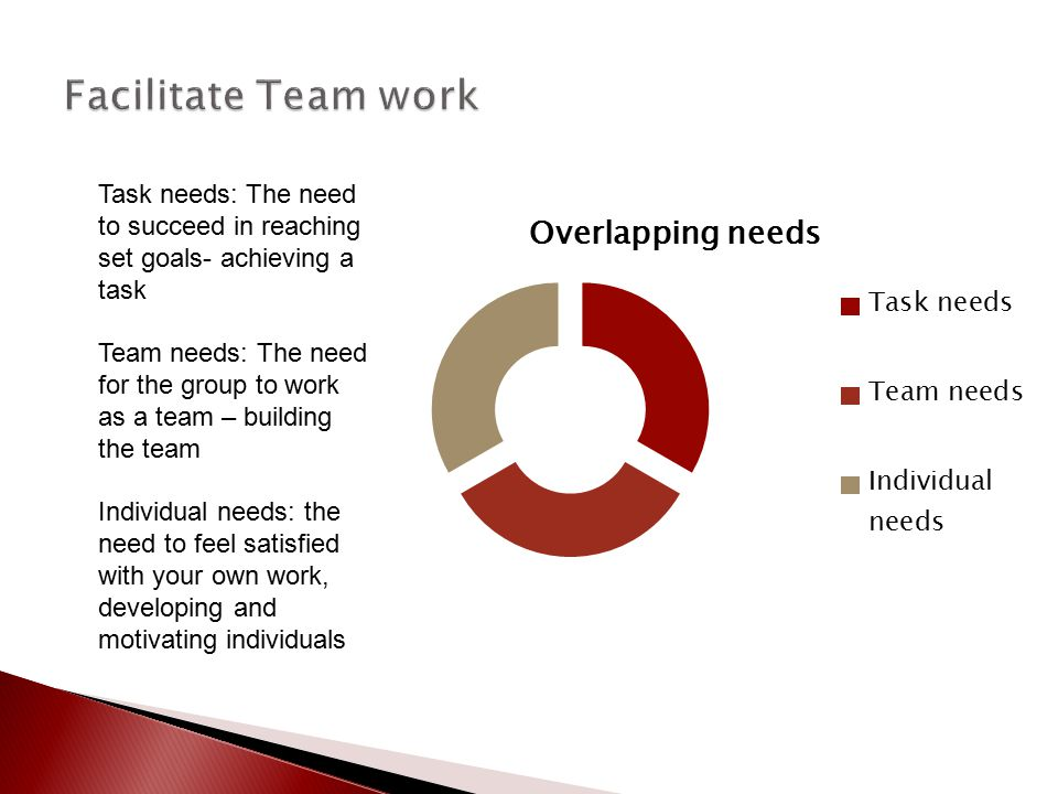 Facilitate Team work Task needs: The need to succeed in reaching set goals- achieving a task.