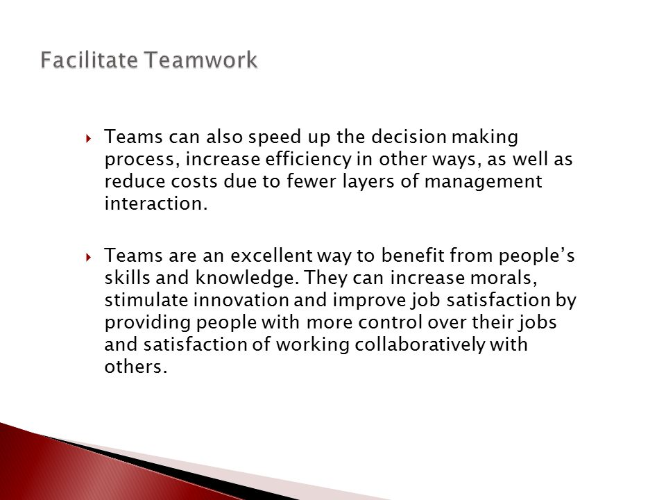Facilitate Teamwork