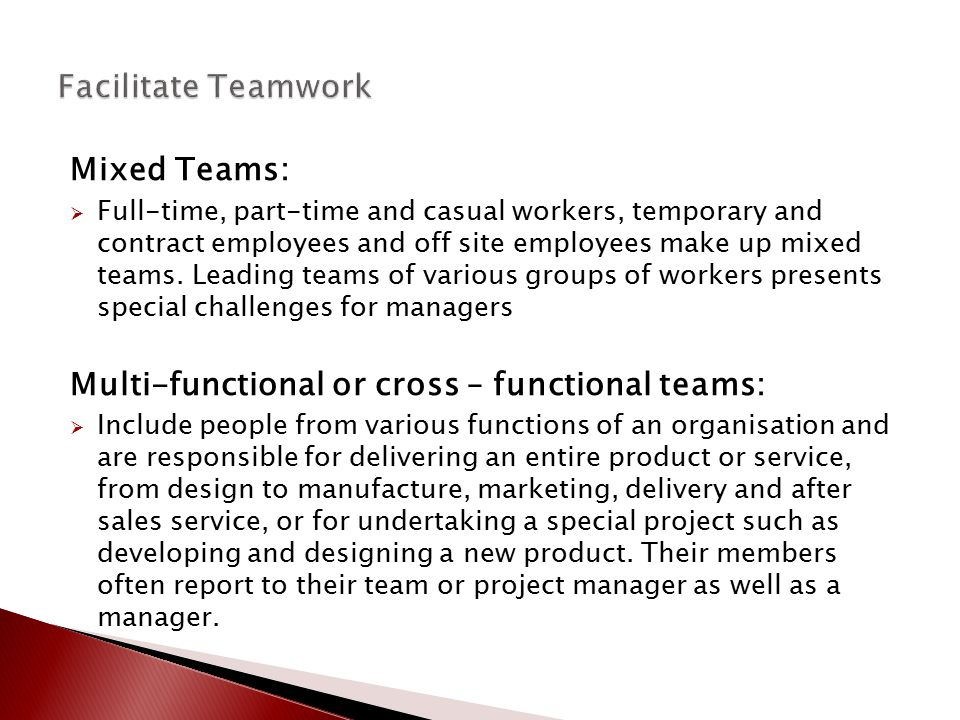 Multi-functional or cross – functional teams: