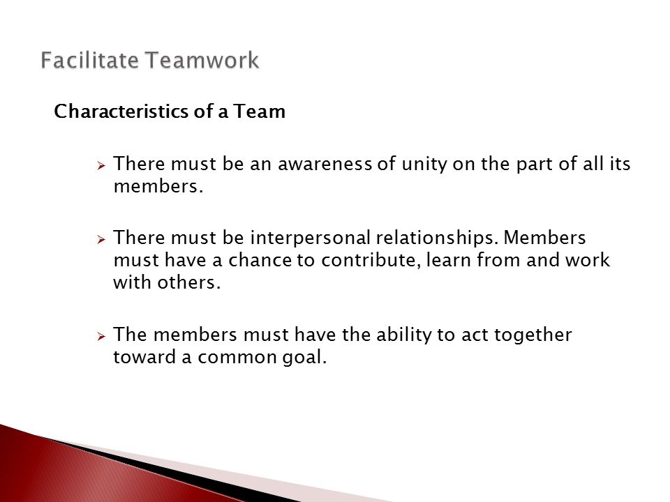 Facilitate Teamwork Characteristics of a Team