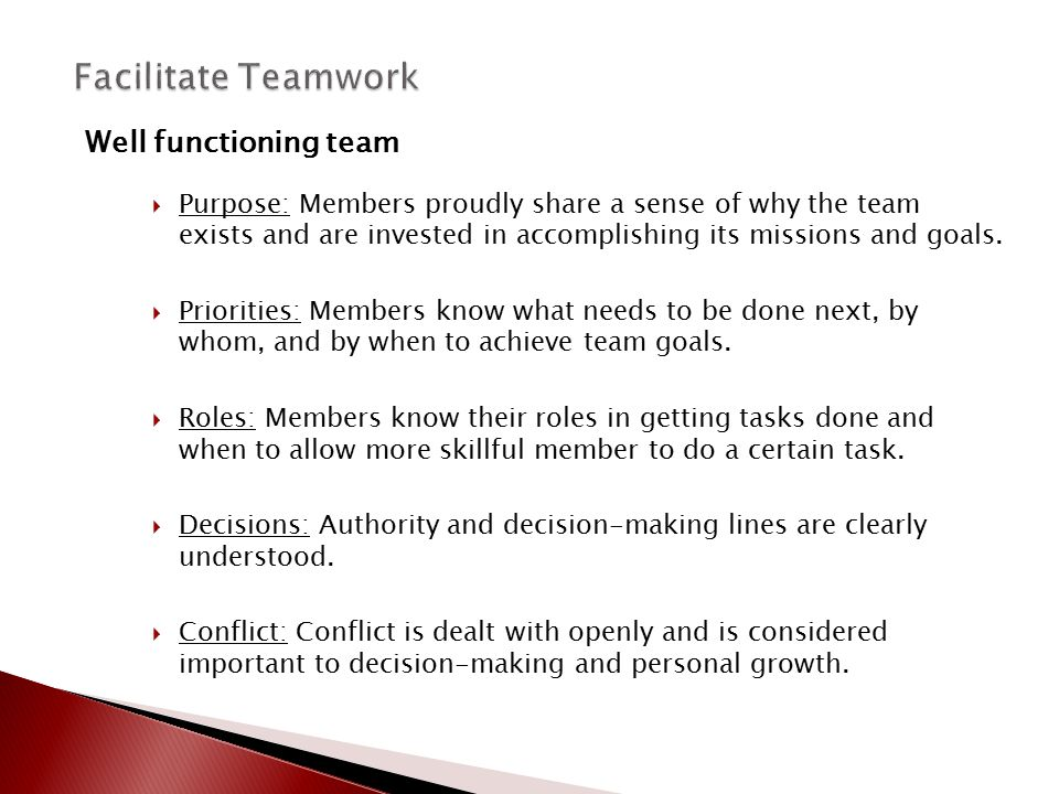 Facilitate Teamwork Well functioning team