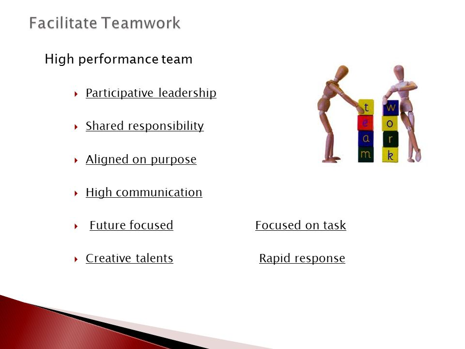 Facilitate Teamwork High performance team Participative leadership
