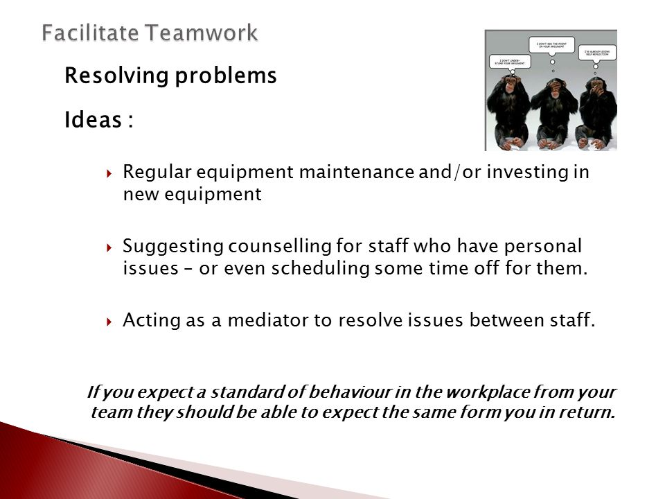 Facilitate Teamwork Resolving problems Ideas :
