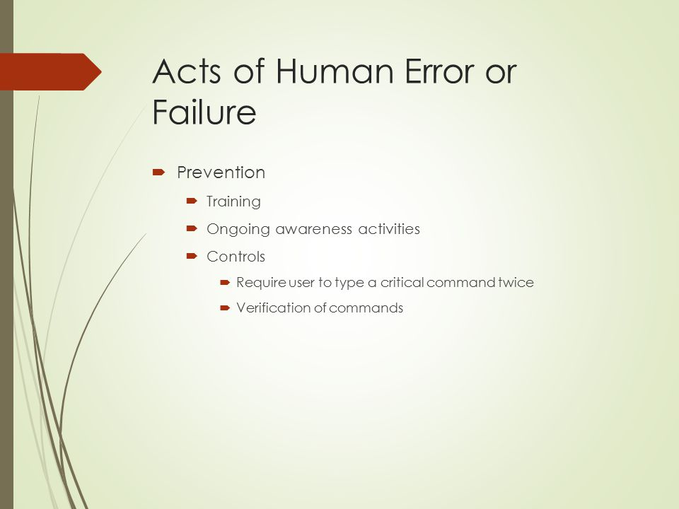 Acts of Human Error or Failure